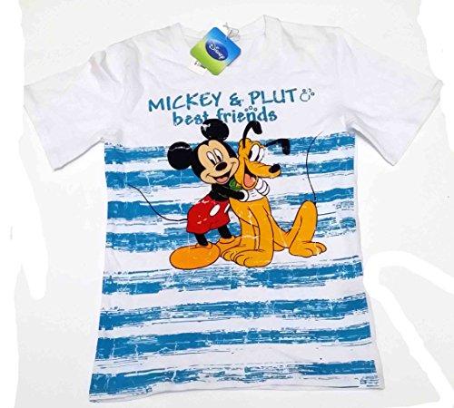 T-shirt mezza manica in cotone bambino Disney Topolino e Pluto bianca 14 Anni