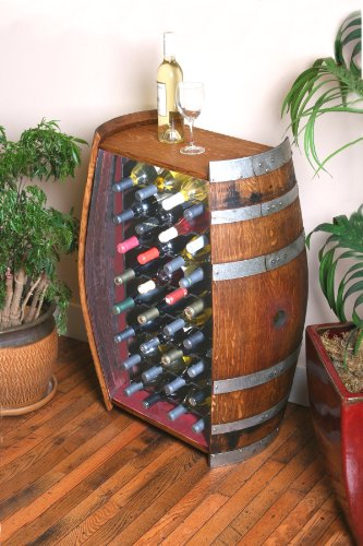 32-Bottle Wine Barrel Cabinet by Wine Barrel Creations