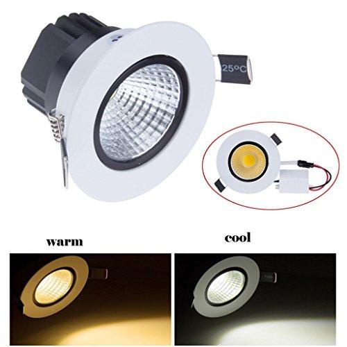 Lemonbest Dimmable 5W Cob Led Ceiling Light Downlight Warm White Spotlight Lamp Recessed Lighting Fixture , Halogen Bulb Replacement