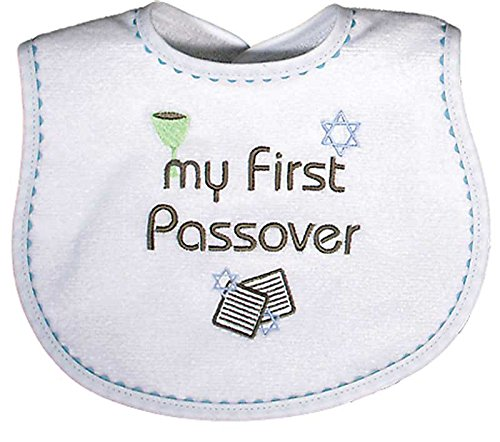 Raindrops Embroidered Bib, My First Passover, Blue