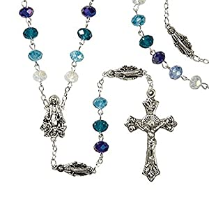 Blue Marian Rosary,-- 6mm x 8mm Crystal Bead -- 22.5