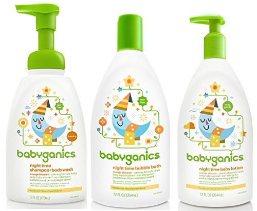Babyganics Night Time Orange Blossom Set - Bubble Bath, Shampoo & Body Wash and Lotion Blossom Bath