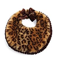 Mud Pie Baby-Girls Newborn Faux Fur Leopard Bib, Multi Colored, 0-12 Months