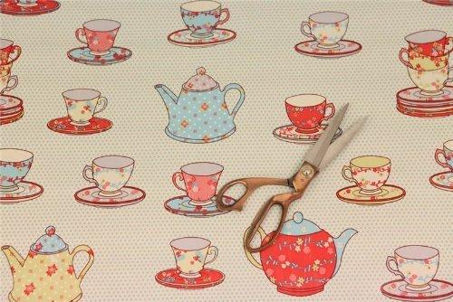 VINTAGE CREAM TEA PARTY TEA CUPS & SAUCERS TEAPOT RETRO VINTAGE PVC OILCLOTH VINYL KITCHEN CAFE BAR TABLE WIPECLEAN TABLECLOTHS