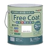 アトムハウスペイント 水性半つや多用途塗料 フリーコート3L ミルキーホワイト