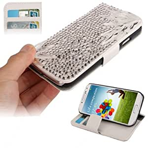 Crazy4Gadget Crystal Diamond Encrusted Horizontal Flip Leather Case with Credit Card Slots & Holder for Samsung Galaxy S IV / i9500
