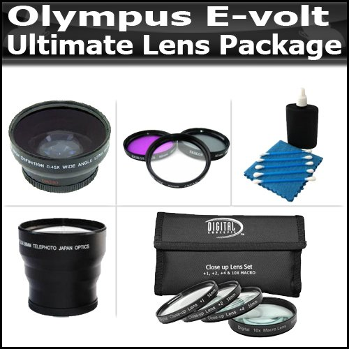 Ultimate Lens Package For Olympus E-Volt E-510 E-410 E-620 E-520 Includes Hd Wide Angle Lens + 3.5X Telephoto Lens + 3 Piece Filter Kit + 4 Piece Close Up Macro Lens Set + Extras