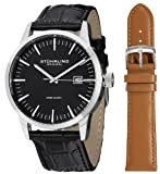 Stuhrling Original Mens 555A.01 Classic Ascot II  Swiss Quartz Date Black Dial Strap Set Watch