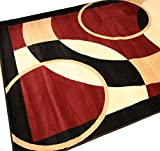 New City Brand New Contemporary Red Burgundy and Beige Modern Circles Area Rugs 5'2 x 7'3
