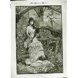 Impresión Antigua de 1882 Árboles Ludlow de la Señora Paraguas del País de la Escena del Otoño