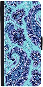 Snoogg Paisley Print Blue Graphic Snap On Hard Back Leather + Pc Flip Cover S...
