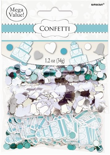 Cake, Heart and Bell Wedding Confetti (Robins Egg Blue, Silver and White) - 1.2 Ounce Bag