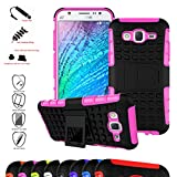 Samsung Galaxy J5 Case,Mama Mouth Shockproof Heavy Duty Combo Hybrid Rugged Dual Layer Grip Cover with Kickstand For Samsung Galaxy J5 J500 (With 4 in 1 Free Gift Packaged),Pink