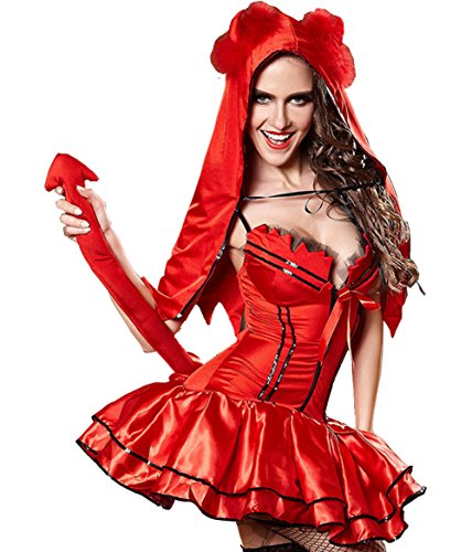 Omine Halloween Women's Spaghetti Straps Red Riding Hood Wavy Costume (M)
