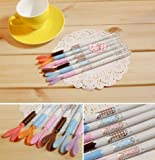 Cute Mr.rabbit Ink Pen 0.38mm Black Set of 6 Plus One Free Cute Korean Pen (Happy Time Ball Point Pen 0.05mm) O4