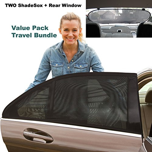 Premium Rear Window Sun Shade PLUS Two (2) ShadeSox Universal Fit Car Window Baby Sun Shades! | Universal Baby Sun Shade Travel Kit Bundle (3 Piece) For Cars and SUV's | BONUS Travel eBook Included! (Purple Window Shade In Auto compare prices)