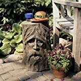 """17.5"""" Exotic Mystical Greenman Outdoor Tree Stump Sculptural Table"""