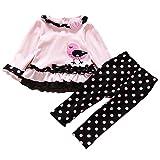 FTzone ベビーの女の赤ちゃんの柔らかい綿の長袖2個服セット(ピンク鳥) (12-18 ヶ月)