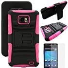 MINITURTLE, Rugged Hybrid Dual Layer Armor Phone Case Cover with Built in Kickstand, Swiveling Holster Belt Clip, and Clear Screen Protector Film for Android Smartphone Samsung Galaxy S2 II Attain SGH-I777 AT&T / Prepaid Straight Talk SGH-S959G (Black / Pink)