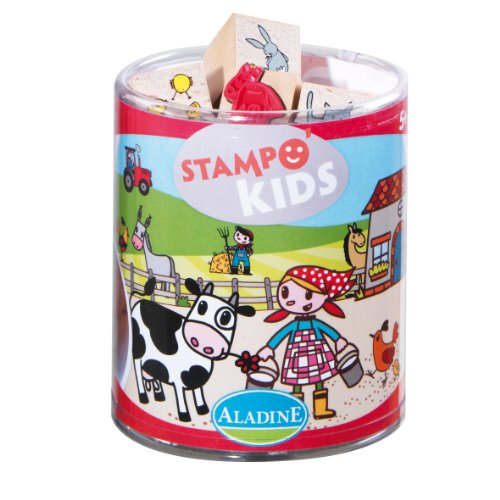 Aladine Lili Goes to the Farm Themed Rubber Stamps, Set of 15 Plus 1 Ink Pad - 1