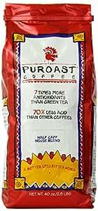 Puroast Low Acid Coffee Half Caff House Blend Whole Bean, 2.5 Pound Bag