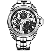 BUREI® Men's Stainless Steel Watch with Black Dial