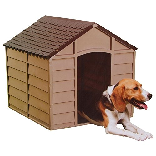 Hundehuette-Hundehaus-aus-Kunststoff-mokka-braun-Marke-Starplast-Art-10-701-fuer-kleine-mittelgrosse-Hunde