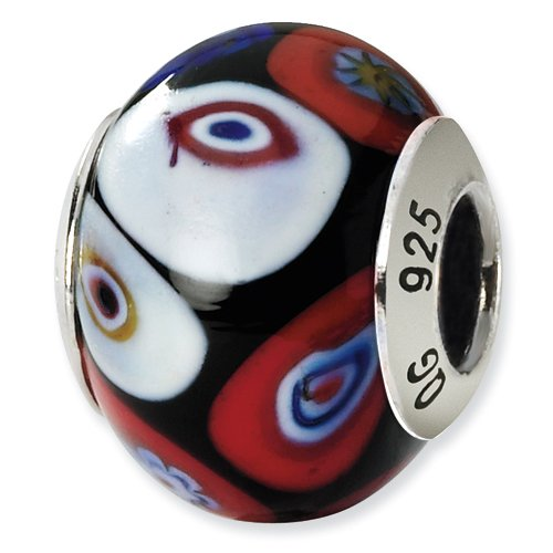 Multi-Color Murano Glass and .925 Sterling Silver Bead