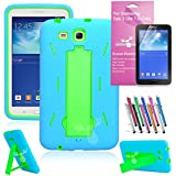 EpicGadget Case Shockproof Hybrid Case with Build In i Kickstand Protective Cover for Samsung Tablet Galaxy Tab 3 Lite 7.0 - (Blue and Green)