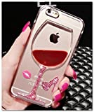 液晶保護フィルム付き iPhone6sケース 4.7 対応 デコ カバー/ iphone6 ケース キラキラ輝く かわいい ワイングラス アイフォン 6s/6 対応ケース カバーiphone 6S カバー 可愛い iPhone6/6s ケース iphone6S/6 カバー おしゃれ 格好良い 透明 クリア RKS169-171 (レッド) [並行輸入品]