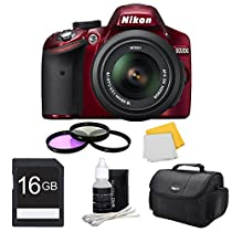 Nikon 16 GB Bundle D3200 DX-format Digital SLR Kit w/ 18-55mm DX VR Zoom Lens (Red)