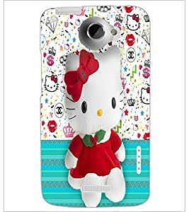 PrintDhaba Kitty D-4428 Back Case Cover for HTC ONE X (Multi-Coloured)