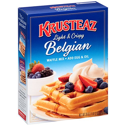 Krusteaz Light & Crispy Belgian Waffle Mix, 28-Ounce Boxes (Pack of 4)