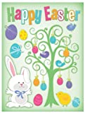 Classic Easter Clings 12 x 17 Reusable Vinyl Static Window Cling Cutouts - Easter Tree with Bunny and Colorful Eggs