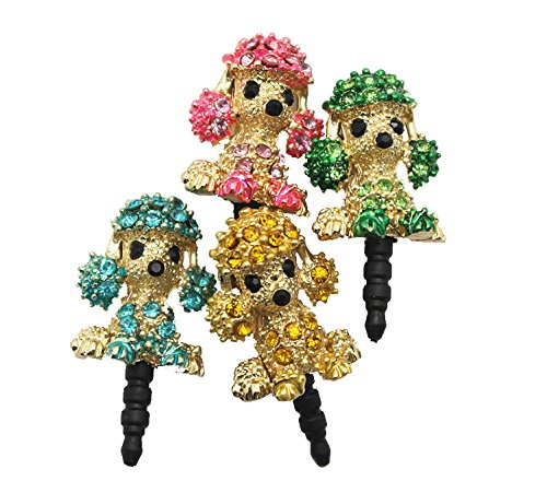 4 Pieces Universal 3.5 Mm Puppy Rhinestones Crystal Puppy Anti Dust Earphone Jack Plug Stopper Light Weight Hollow Design Puppy Dust Plug Headphone Plug For Iphone 4 4S 5,Ipod,Ipad 4/3/2, Htc, Samsung Samsung Galaxy Etc