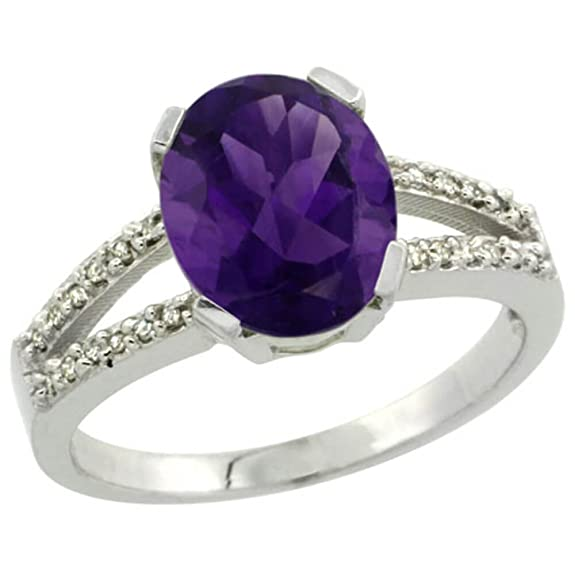 Revoni Sterling Silver Amethyst And Diamond Ring, Oval Stone (10x8 mm)