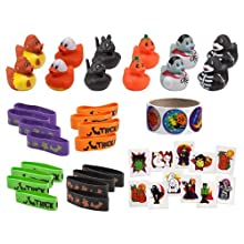 [Best price] Novelty & Gag Toys - Mega Halloween Toy Novelty Assorment; 12 Halloween Ducks, 12 Halloween Bracelets, 72 Halloween Glitter Tattoos & 100 Halloween Stickers!! - toys-games