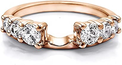 10k Gold Double Shared Prong Graduated Six Stone Ring Wrap with Forever Brilliant Moissanite by Char