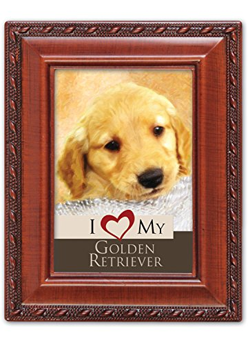 I Love My Golden Retriever 2x3 Photo Woodgrain Finish Frame with Easel, Ribbon Hanger and Magnetic Back