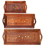 ITOS365 Handmade Wooden Serving Coffee Tray, Set of 3 with Brass Work