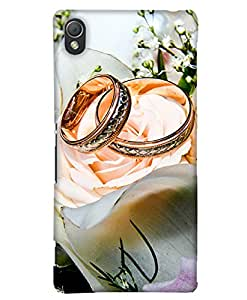 PrintHaat Designer Back Case Cover for Sony Xperia M4 Aqua :: Sony Xperia M4 Aqua Dual (lovely wedding rings of a couple :: romantic moments :: beautiful rings with white roses :: celebrate life :: in gold white and green)