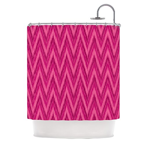 Hot pink chevron shower curtian
