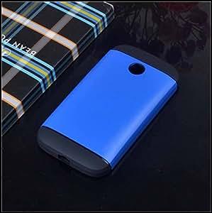 Cubezap Tough Case Hard Armor Silicone Bumper Back Cover for Motorola Moto E MotoE 1st Gen - Blue