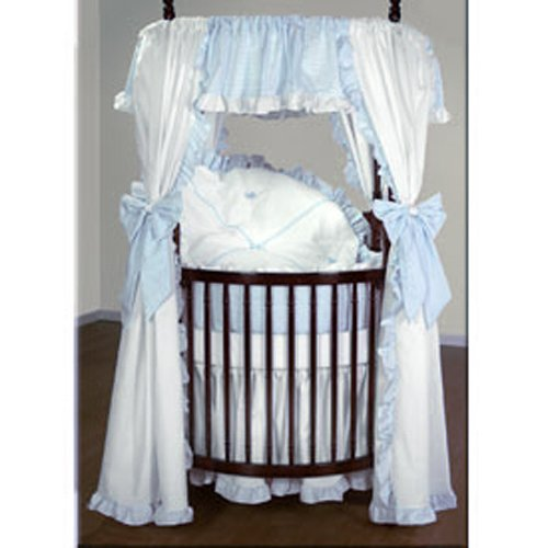 Baby Doll Bedding Darling Pique Round Crib Bedding Set, Blue