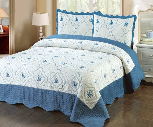 Fancy Linen 3pc Bedspread Quilted High Quality Bed Cover Queen/king (truquise) (High Quality Quilts compare prices)