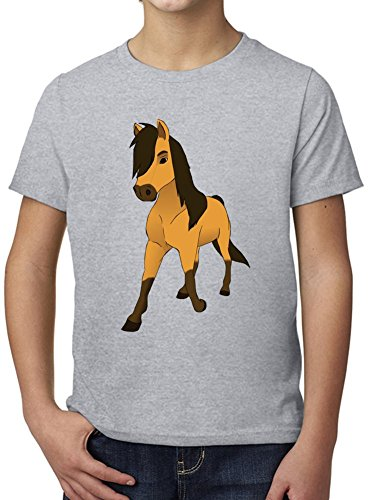 spirit the stallion of cimarron Ultimate Youth Fashion T-Shirt by True Fans Apparel - 100% Organic, Hypoallergenic Cotton- Casual Wear- Unisex Design - Soft Material 3-4 years