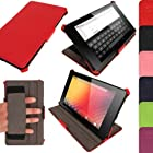 iGadgitz Red Leather Case Cover for New Google Nexus 7 FHD Android Tablet 16GB 32GB 4G LTE 2013 Model 2nd Gen Generation (released Aug 2013). With Sleep/Wake Function, Integrated Hand Strap + Screen Protector