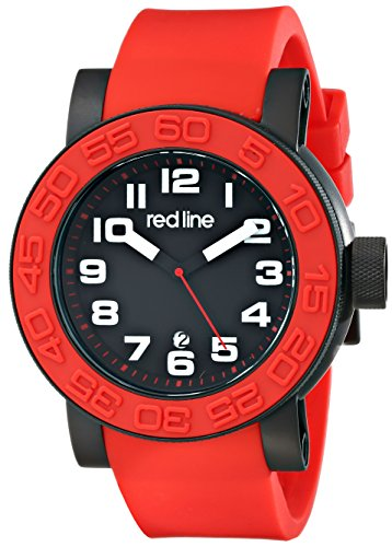 Red Line Men's Xlerator 52mm Red Silicone Band IP Steel Case Quartz Black Dial Date Watch 50051-BB-01-RDS