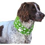 REFLECTIVE GREEN PAW & BONE PRINT DOG SCARF/COLLAR/BANDANA - RUFFNEK® - BE SAFE, BE SEEN