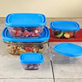 Duralex Square Glass Storage Bowls, Set of 5 - Set of 5 (10 pieces)